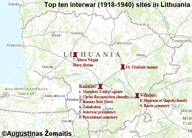 Map of the top Interwar (1918-1940) locations in Lithuania
