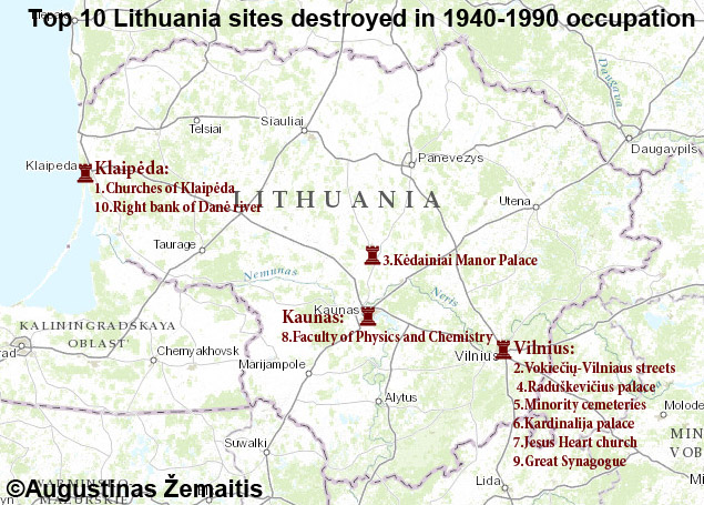 19th century itinerary in Lithuania map