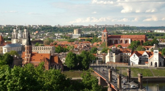 Aleksotas vantage point panorama in Kaunas