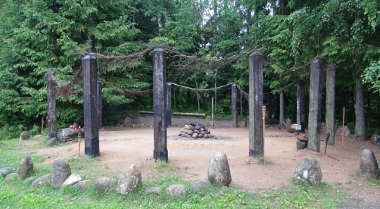 Reconstructed pagan observatory at Kulionys