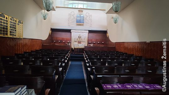 Inside the Litvak (Lithuania's Jewish) syunagogue of Sao Paulo. This is the only synagogue in Latin America that is officially Litvak; in the rest of communities, Jews simply integrated into the general Jewry