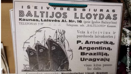 An advertisement in Lithuania advertising emigration to South America