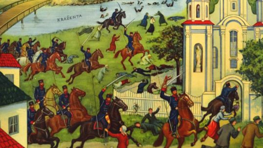 A Lithuanian postcard of Kražiai massacre when Russian cossacks massacred Lithuanian Catholics who were defending their church from closure. An example of anti-Lithuanian discrimination that pushed people from Lithuania