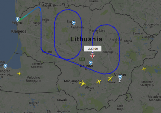 Around midnight before the centenery, a Lithuanian airline used its plane to draw '100' with its route