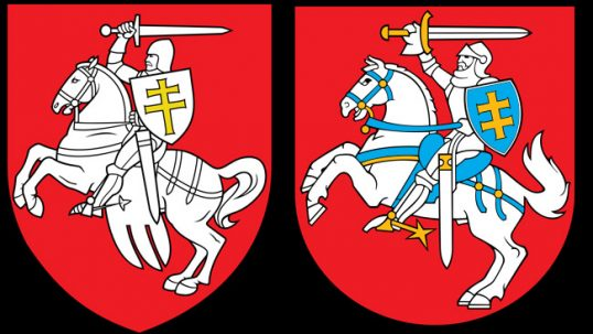 Belarusian coat of arms official in 1991-1995 (left) and Lithuanian coat of arms (right), both are differently modernized versions of the Grand Duchy of Lithuania coat of arms