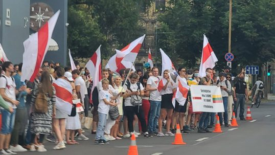 A protest in front of the Belarusian embassy in Vilnius. Protesters use the old white-red-white Belarusian flag that was official in 1991-1995 before president Lukashenko consolidated his power