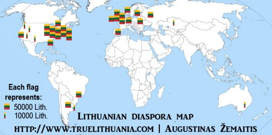 A map of Lithuanian diaspora, each square Lithuanian flag representing 50 000 diaspora members and each smaller flag 10 000