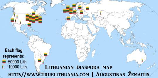 A map of Lithuanian diaspora, each square Lithuanian flag representing 50 000 diaspora members and each smaller flag 10 000