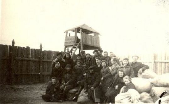 Exiled Lithuanians at a transhipment camp en-route