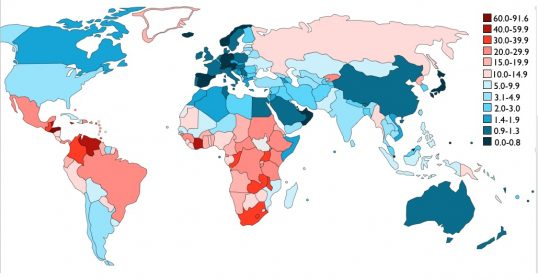 Murders-per-capita map of the world: the bluer the country is, the safer it is; the redder the country is, the more dangerous it is crime-wise