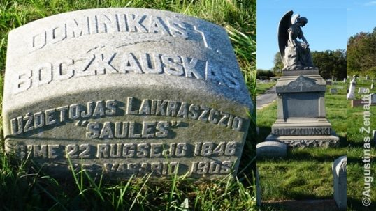 A graves of Bočkauskas family in Mahanoy City illustrates the Polonist-Lituanist divide of the era. While the main gravestone has the surname written in Polish (Boczkowski), the grave of Dominikas Boczkauskas, a publisher of the largest Lithuanian newspaper at the time, has the same surname written in pre-modern Lithuanian (Boczkauskas).