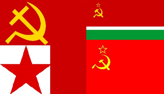 Banned Soviet symbols hammer and sickle (top left) and red star (bottom left) and their derrivatives the flag of Lithuanian SSR (top right) and the flag of the Soviet Union (bottom right)