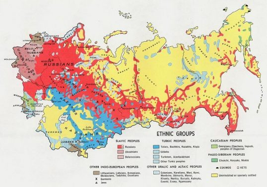 Ethnic map of the Soviet Union. Only the territories in red had Russian majority or plurality