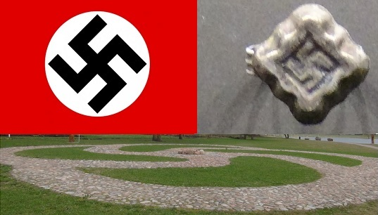 Three swastikas. Top left is Nazi one, banned in Lithuania. Top right is a prehistoric Baltic ring in Kernavė Museum of archeology. While swastikas may look similar, the context is different and such traditional use is protected by courts. Still, in order not to be wrongly accused of nazism, modern users of swastika often significantly stylize it, as in the bottom image that shows a modern land art in Naisiai village museum of Baltic pagan Gods